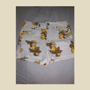 High waisted lemon shorts